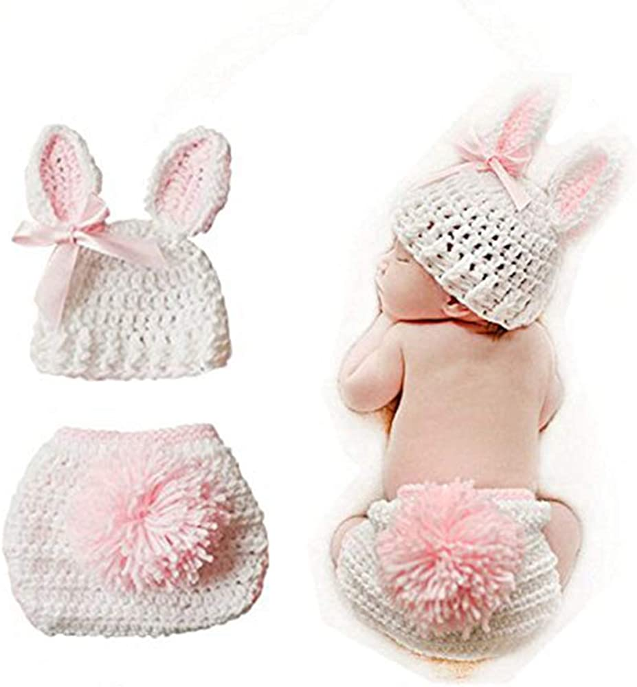 Swovo Baby Crochet Knit Baby outfits Baby Jumpsuit Photography Props for 0-6 Month Toddler Newborn Pink