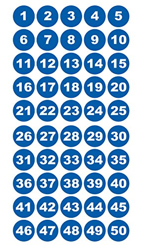Runde Zahlenaufkleber 1-50, Vinyl - 30mm - weiße Zahlen auf blau