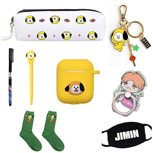 BTS Gifts Collection-BTS Federmäppchen mit Gelstift, Kopfhörerabdeckung, Handy-Ständer, Schlüsselanhänger, Mundmaske, ein Paar Socken CHIMMY