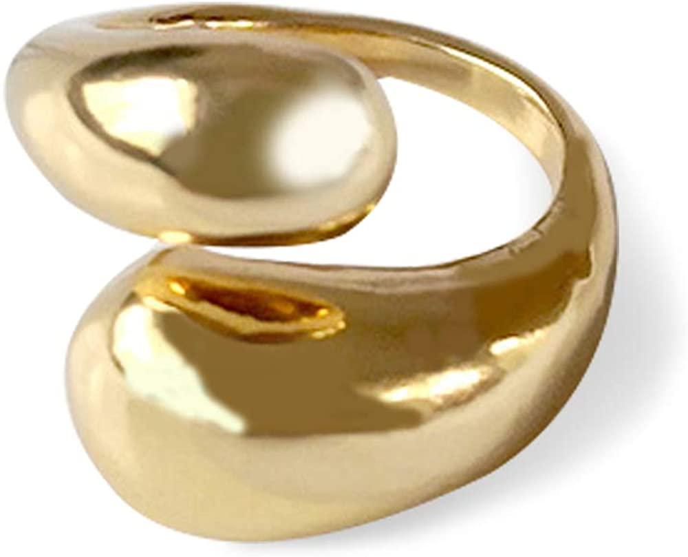 KURTCB Chunky Open Ring 14k Gold Plated Minimalist Adjustable Dome Teardrop Wide Bold Statement Ring for Women Girls