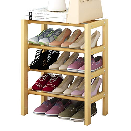 NYKK Closet Entryway Hallway Shoe Shelf Wooden Household Shelves Stackable Original Wood Color Shoe Rack Storage Organizer & Hallway (Size : Four Layers of 50cm)