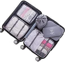 Adwaita 6 Set Packing Cubes, Travel Luggage Packing Organizers (Grey)
