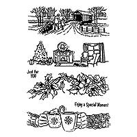 friendsty クリアシールスタンプ、クリスマスアニマルシリコンクリアシールスタンプDIYスクラップブッキングエンボス写真3#