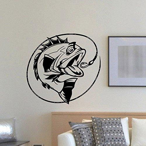 Pesca Gancho Línea Fish Deportes al Aire Libre Hobby decoración del hogar Etiqueta de la Pared calcomanía de Vinilo Interior Sala de Estar Dormitorio Cartel 60X57CM