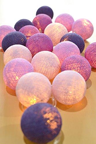 String Fairy Lights pour la chambre à coucher 20 boule de coton LED mariage à piles et décoration de fête Lumière blanche chaude (Violet)
