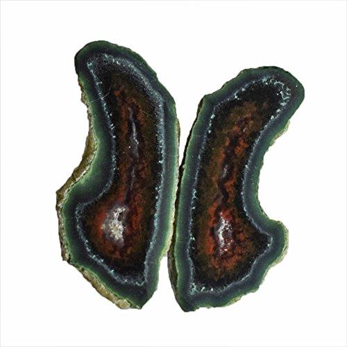 AG-10463 AG-10 x 6 mm tamaño natural pequeña ágata par piedras preciosas para pendientes, diminutas geodas divididas en medio raro bandas, AG-10463