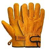 耐熱 本牛革 手袋 SHANJE黄色 柔らかい 耐切創 使いやすさ 耐刃グローブ アルミホイル素材 高温耐性350℃