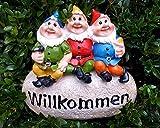LB H&F Gartenzwerge Dekofigur lustige Zwerge WILLKOMMEN Gartendeko Figur - wetterfest - frostsicher Gartenzwergeset Außenbereich (Stein)