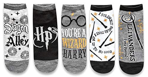 Harry Potter Diagon Alley Wizard Magic Juniors/Damen 5er-Pack Knöchelsocken Größe 37-10