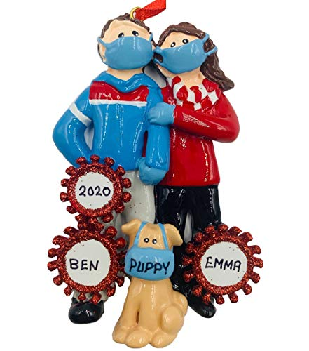 Personalized Pandemic Couple with Dog Christmas Ornaments