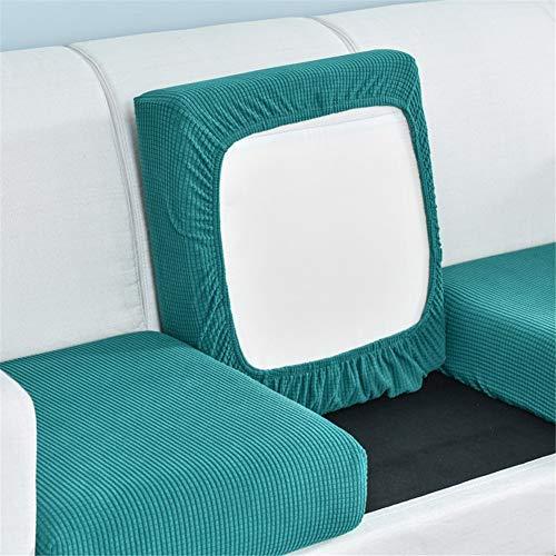 Sofakissenbezüge, Sofa-Sitzkissenbezüge Ersatz, Couch-Kissenbezüge Schottenkaro, Stretch für einzelne Kissen (Blaugrün, Recamiere)