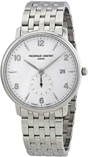 Frederique Constant Men's Slimline Swiss-Quartz Watch with Stainless-Steel Strap, Silver, 13 (Model: FC-245SA5S6B)