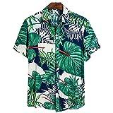 Camisa Hombres Verano Casual Camisa Playa Transpirable Tendencia Impresión Botón Tapeta Solapa Hombres Manga Corta Suelta Cómoda Moda Camisa Hawaii CS126 L