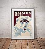 AZSTEEL Vintage Poster Malaysia Borneo Macaque | Poster No