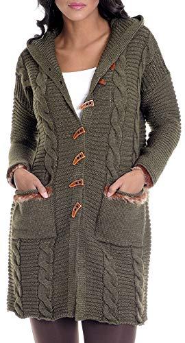 Leif Nelson Damen Strick-Jacke Frauen Basic Freizeitjacke mit Kapuze Damen Hoodie Sweatjacke Das Beste in Kleidung Damen LN10145 Größe L, Khaki