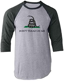 Don't Tread On Me Gadsden Flag Rattlesnake USA Revolution Raglan Baseball Tee Shirt