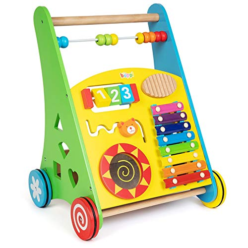 boppi Wooden Baby Toddler Walker with Shape Sorter and Activity Centre - Musical