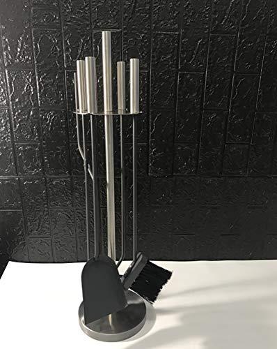HYDT Kaminbesteck Kamin-Werkzeugsätze, 5-teiliges Eisen-Kamin-Begleiterset Zubehör für Kohlefeuerholzbrenner, für Modernes Wohnzimmer Dekor