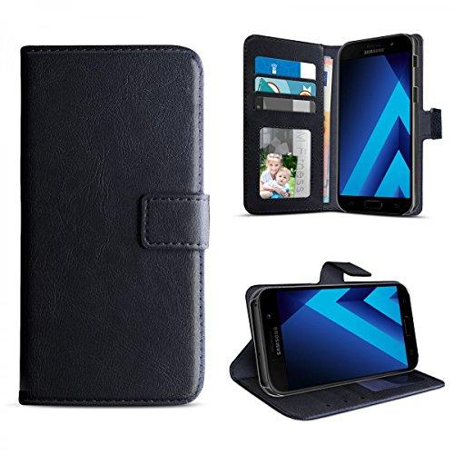 eFabrik Book Hülle für Samsung Galaxy A3 2017 Tasche Schutz Hülle Cover (SM-A320F | A320) Schutztasche Schutzhülle Etui Leder-Optik, Farbe:Schwarz