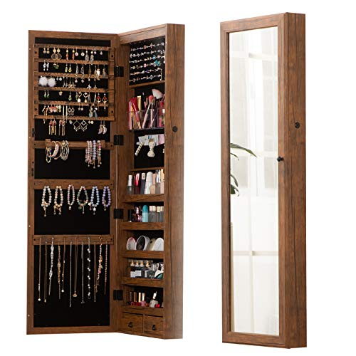 8 LED Lights Lockable Full mirror jewelry organizer wall mounted/door mounted Jewelry Box For Women/jewelry cabinet jewelry armoire with mirror/full length mirror hanging mirror 6180 (wood)
