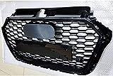 Zaaqio Accesorios de Malla de Coche para RS3 Style Front Sport Hexagonal Mesh Honeycomb Hood Grill Negro Brillante , para Audi A3 / S3 8V 2017~2019 Accesorios de Coche