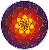 "Mandala Arts Sunrise Lotus – Spiritual Window Sticker/Decal - Circular 4.5"" Translucent"