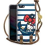 DeinDesign Carry Hülle kompatibel mit Apple iPhone SE (2020) Hülle mit Kordel aus Leder Handykette zum Umhängen braun Gold Hello Kitty Katze Anker