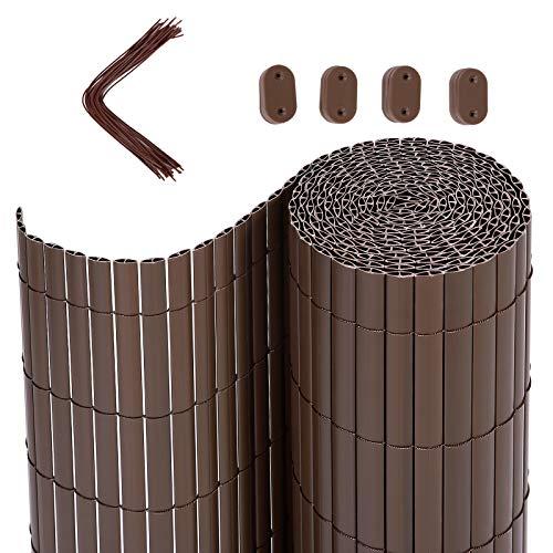 SONGMICS PVC Sichtschutzzaun, 5 x 1 m (L x B), Balkonverkleidung, Sichtschutzmatte, Balkonumrandung, Blende mit verstärkten Lamellen, Garten, Balkon, Terrasse, Outdoor, Braun GPF105B