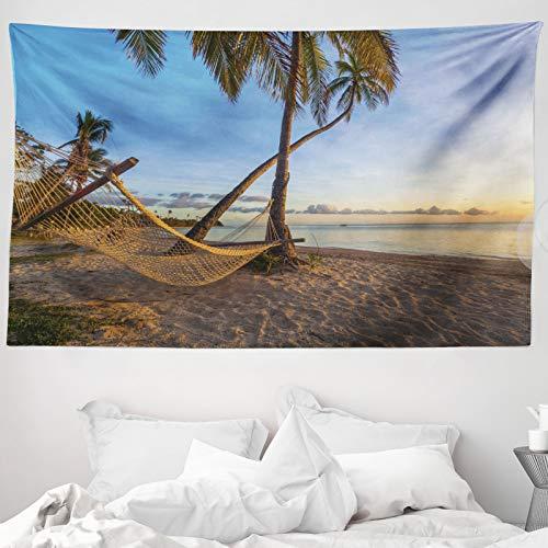 ABAKUHAUS Fiji Wandtapijt, Summer Time Hangmat op een Strand, Stoffen Muurdecoratie voor Woonkamer Slaapkamer Slaapzaa, 230 x 140 cm, Veelkleurig