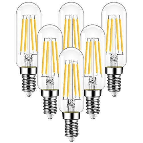 ANWIO E14 LED Leuchtmittel 4.5W Filament Lampe, T25 470LM Edison LED, Ersetzt 40w Glühbirne, Warmweiß 2700K, Nicht Dimmbar, Glühbirne für Kronleuchter Kühlschrank Dunstabzugshaube, 6er-Pack