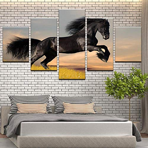 QMCVCDD Moderno Cuadro En Lienzo 5 Piezas Caballo Animal HD Poster Pictures Paintings Home Decor Impresión Artística Fotográfico Regalo -Sin Marco