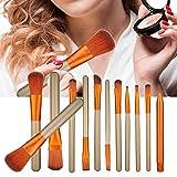 Juego de brochas de maquillaje, 12 piezas multifuncional Kit de brochas de maquillaje Fundación Sombra de ojos Herramienta cosmética Cepillo de mascarilla Herramienta de belleza Cepillo aplicador