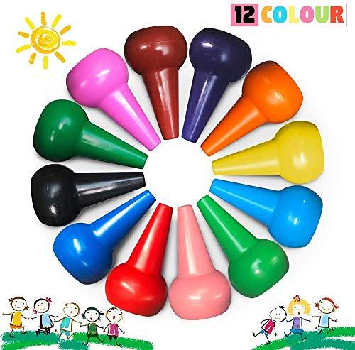 Richgv Crayones para Niños, Ceras Irrompibles de Colores,12 Colores, no Tóxicos, Lavables, Buen Material de Escritura y Dibujo para Niños, Apilables, Juguetes para Bebés y Niños(Dedo)