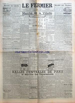 FERMIER (LE) [No 9] du 31/01/1952 - MARCHES AUX GRAINS GRAINS - FARINES GRAINES FOURRAGERES PAILLES FOURRAGES POMMES DE TERRE LEGUMES SECS BETTERAVES FOURRAGERES - TOURTEAUX UN AUTRE RECORD ABONNES AU FERMIER DE PERE EN FILS DEPUIS 1875 LES FOIRES DE