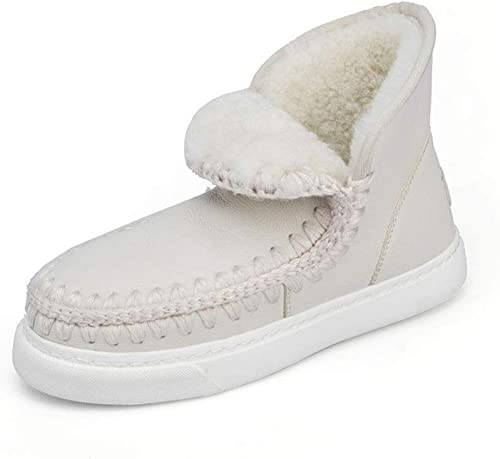 Bottes pour Femmes Bottes de Neige en Cuir pour l'hiver Chaussures antidérapantes en Coton Chaudes Chaussures à Semelle en Caoutchouc Bottes Plates Décontracté