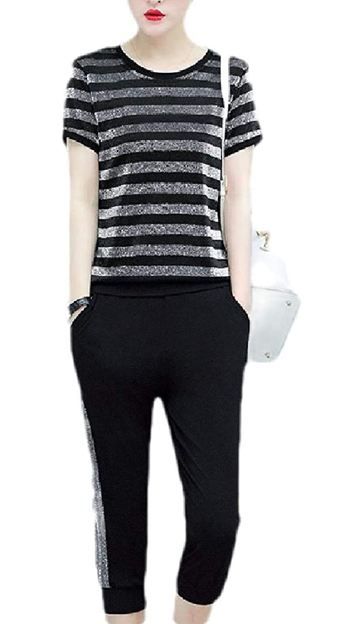 発表する日曜日雪だるまを作るWomen's Chevron Stripes Skinny Fit Capri Pants Casual Pleuche Shirt Tracksuit Set