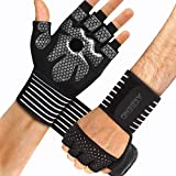 aegend Weight Lifting Gym Gloves, Workout Gloves for Women Men, with Wrist Support Anti-Slip Leather Palm 4 Quick Pull-Tabs for Exercise, Training, Fitness, Powerlifting, Hanging, Pull-ups, Medium