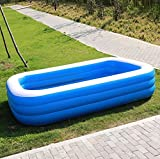 OKOUNOKO Colchoneta De Chorro De Agua para Niños, Piscina De Agua Tubular Rectangular Piscina De Agua, PVC Inflable Durable, Azul Oscuro y blanco-300 * 180 * 75 cm
