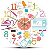 tuobaysj Reloj De Pared Conjunto De Herramientas De Costura Icono Acrílico Impreso Reloj De Pared Tejido De Coser Máquina De Coser Reloj De Pared Sastrería Decoración 12 Pulgadas