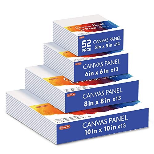 Shuttle Art Painting Canvas Panel, 52 Multi Pack, 5x5, 6x6, 8x8, 10x10 inch (13...