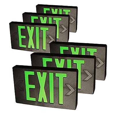 eTopLighting LED Exit Sign Emergency Light Lighting Emergency LED Light / Modern Battery Backup UL924 / Battery Back-up / Black / Red/Green Letter, E3SCR-B, E3SCB-B