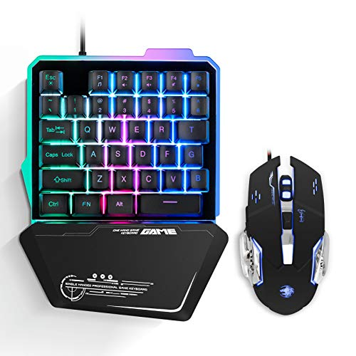 One Hand Gaming Keyboard and Mouse Combo Ippinkan 35 Keys PUBG Keycap Version Wired Mechanical Feel Rainbow Backlit Half Keyboard