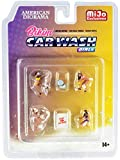 Bikini Car Wash Girls Diecast Set of 7 Pieces (4 Figurines and 3 Accessories) for 1/64 Scale Models by American Diorama 76465