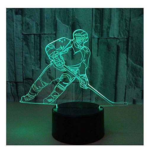 Comiwe Eishockey (A) 3D Illusion Nachtlicht Spielzeug,Haus Dekor LED Bettseite Tischlampe 7 Farben Berührungssteuerung,Weihnachten Geburtstag Geschenk für Mädchen Junge Kinder Freunde und Familie