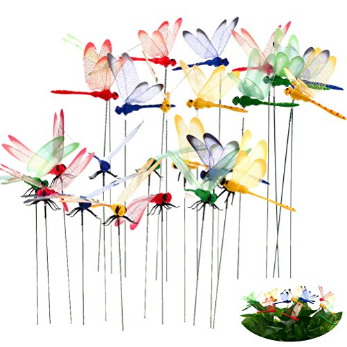 Lwestine Pizies 24 Pack Dragonflies Garden Ornaments (Included 2 Size) | 3D Dragonfly Planters
