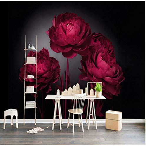BNUIBOIUZ 3D Wallpapers HD Red Rose Flower Art Bedroom Hotel TV Sofa Background Wall Murals Home Decor Bedroom Wall Paper@400 * 280Cm