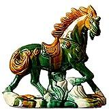 J.Mmiyi Estatua de Caballo Decoracion Figura, Cerámica Esmaltada Tricolor Tang Escultura Animal para Sala De Estar Oficinas Adornos, Feng Shui Riqueza Buena Suerte Regalo,A