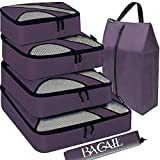 BAGAIL 6 Set Packing Cubes,Travel Luggage Packing Organizers with Laundry Bag(Dark Grey)