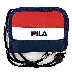 財布 メンズ キッズ ウォレット FILA 布製 FL-122 コード付き 折り財布 子ども フィラ (ネイビー)