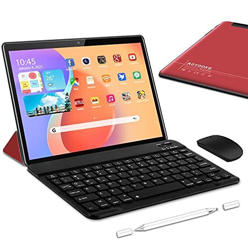 Tablette Tactile 10.1 Pouces, Android 10, 5G WiFi, 1.6 GHz Tablettes, 4Go RAM + 64/128Go ROM Extension,Double WiFi Tablette PC, Double Caméra, Bluetooth, OTG, Type-C avec Clavier(Rouge)